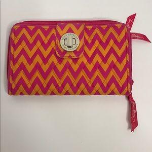 Vera Bradley   Pink + Orange Chevron Pocketbook